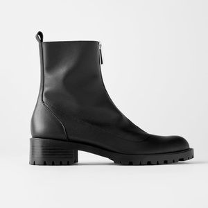 NWT!! Zara Leather Ankle Boots With Lug Soles